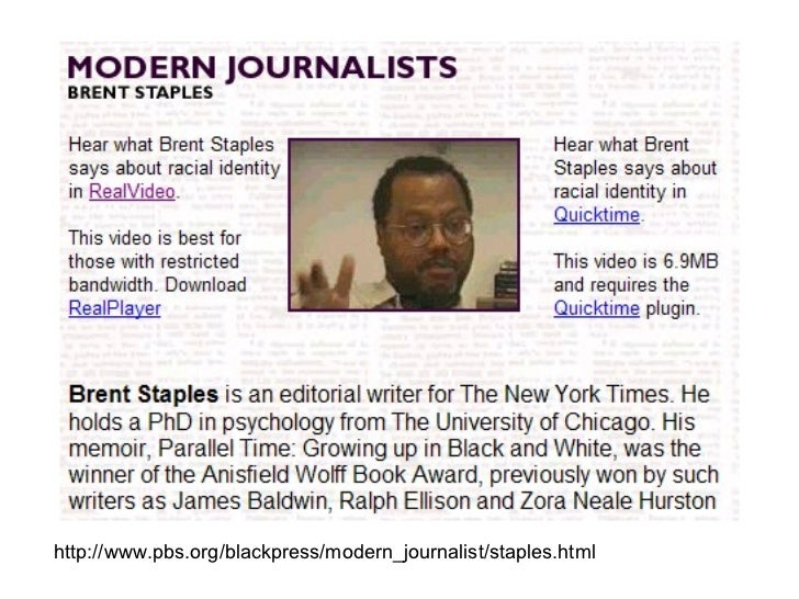 "brent staples critical response Literary analysis, critique, black men - ""just walk on by: black men and public space"" by brent staples."