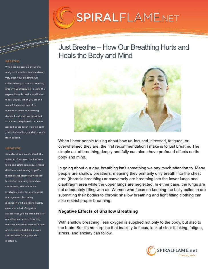 Just breathe – how our breathing hurts and heals the body and mind