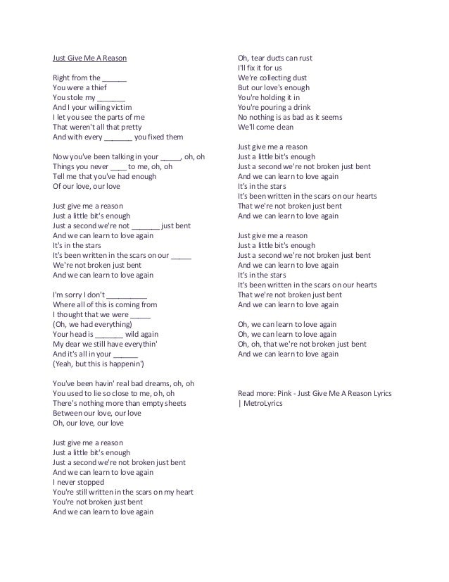 Just give me a reason lyric exercise