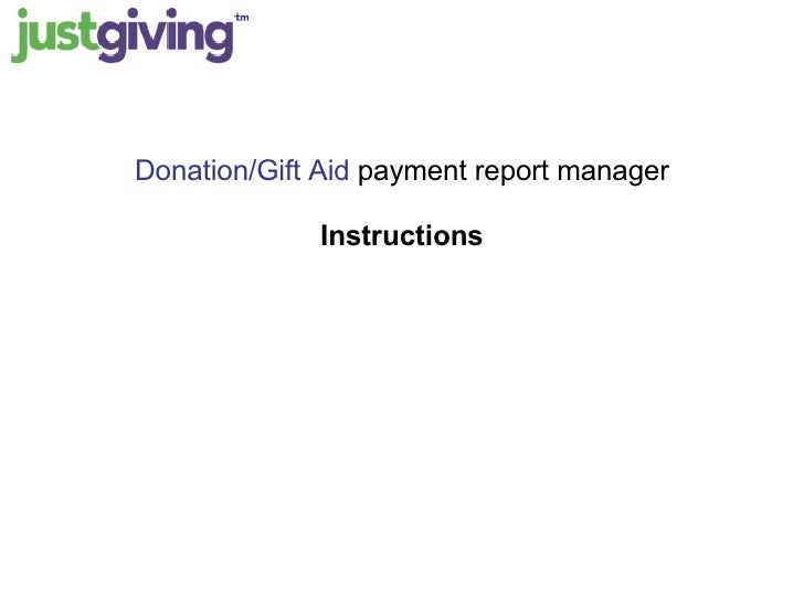 Donation/Gift Aid  payment report manager Instructions