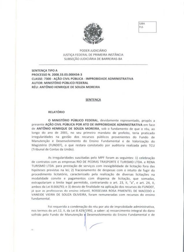 PODERJUDICIARIO JUSTIÇA FEDERAL DE PRIMEIRA INSTÂNCIA SUBSEÇÃO JUDICIÁRIA DE BARREIRAS-BA SENTENÇA TIPO A PROCESSO N. 2008...