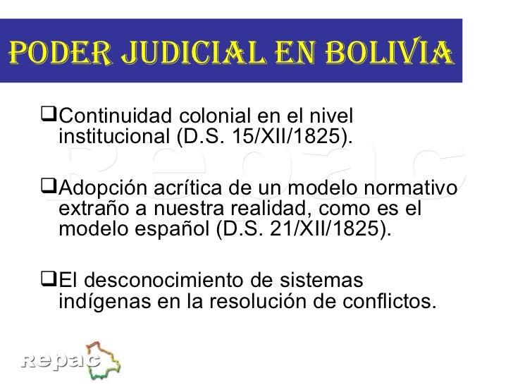 <ul><li>Continuidad colonial en el nivel institucional (D.S. 15/XII/1825). </li></ul><ul><li>Adopción acrítica de un model...