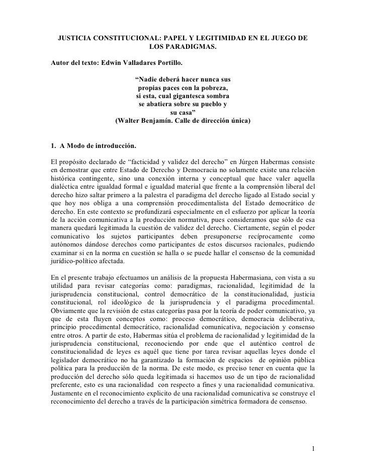 JUSTICIA CONSTITUCIONAL: PAPEL Y LEGITIMIDAD EN EL JUEGO DE                        LOS PARADIGMAS.  Autor del texto: Edwin...