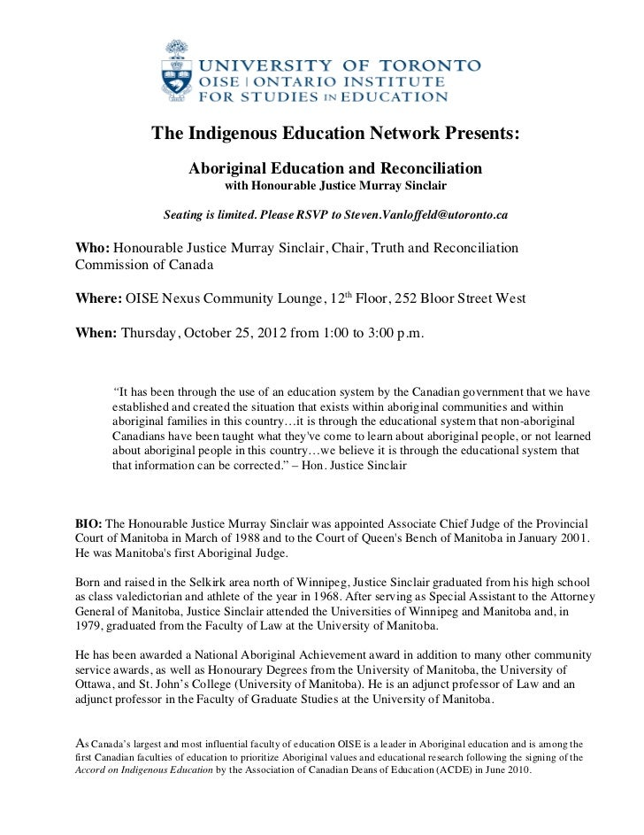 The Indigenous Education Network Presents:                           Aboriginal Education and Reconcili...