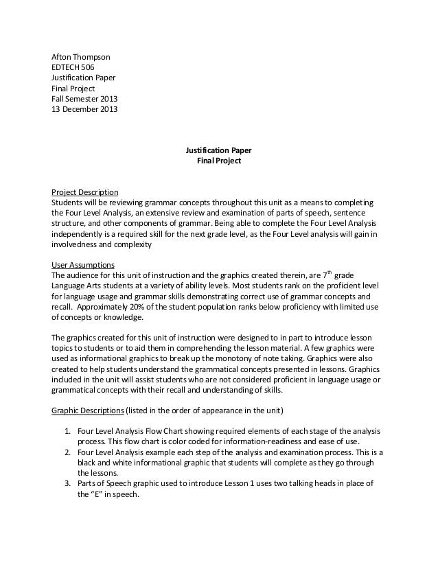 Afton Thompson EDTECH 506 Justification Paper Final Project Fall Semester 2013 13 December 2013  Justification Paper Final...