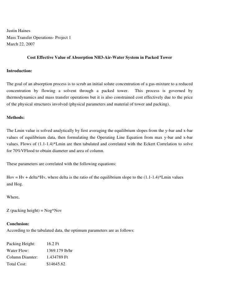 Justin Haines Mass Transfer Operations- Project 1 March 22, 2007              Cost Effective Value of Absorption NH3-Air-W...