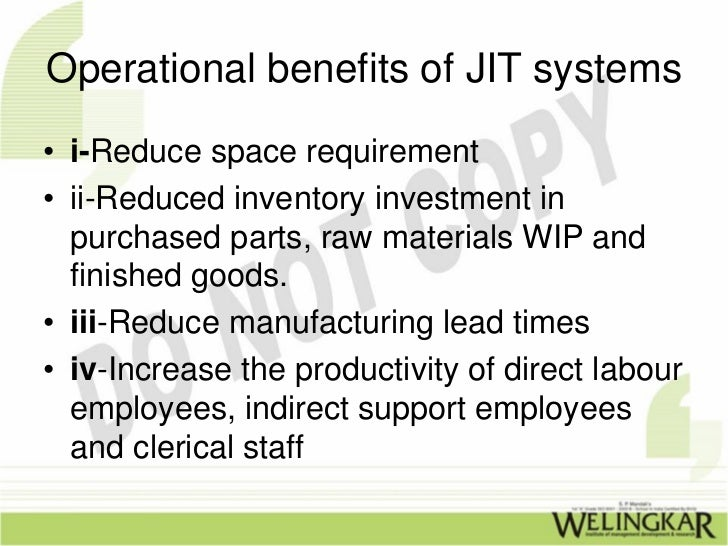 recommendation for just in time system Just-in-time manufacturing (jit) so as to obtain technologically advanced software that is generally required if a just-in-time system is to be a success.