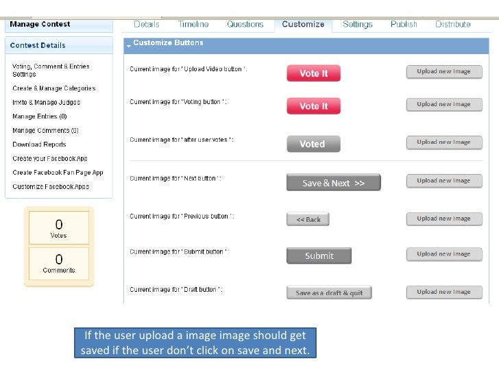 If the user upload a image image should get saved if the user don't click on save and next.<br />