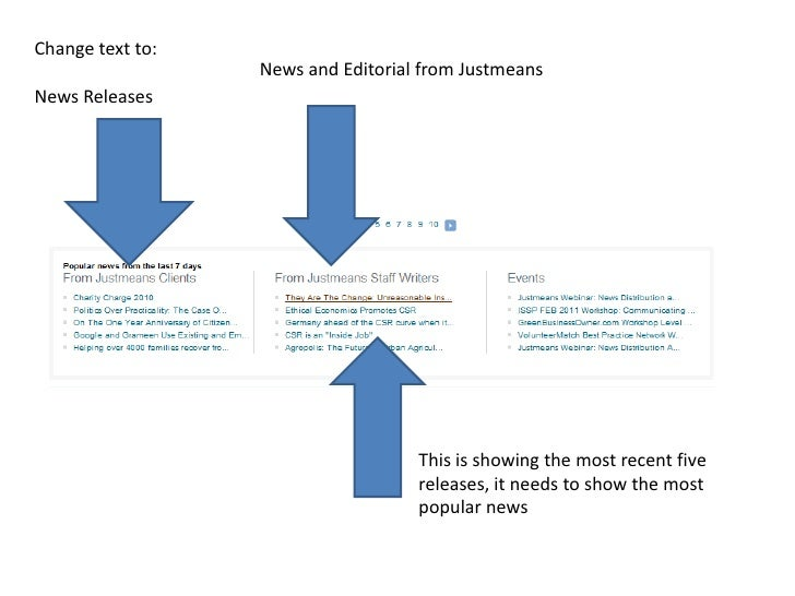 Change text to:<br />News Releases<br />News and Editorial from Justmeans<br />This is showing the most recent five releas...