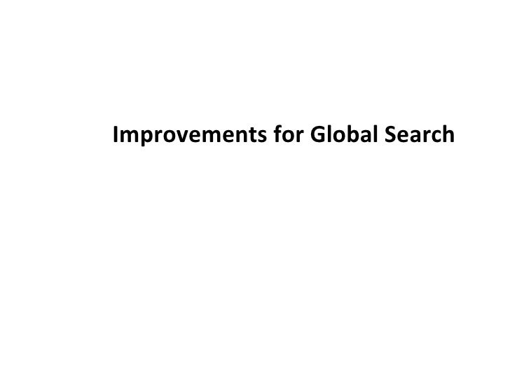 Improvements for Global Search