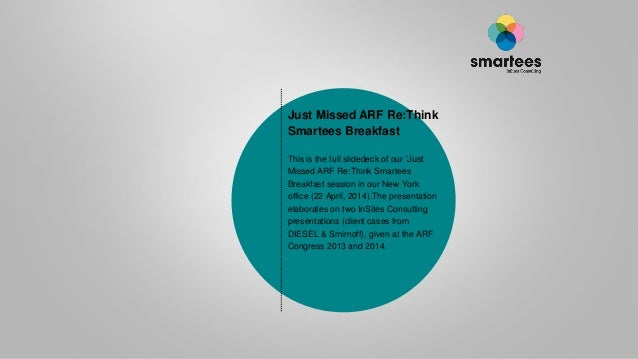 Just Missed ARF Re:Think Smartees Breakfast This is the full slidedeck of our 'Just Missed ARF Re:Think Smartees Breakfast...
