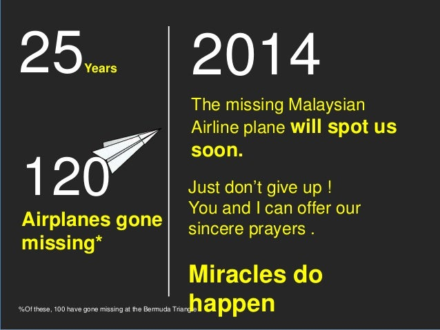 25Years 120 Airplanes gone missing* %Of these, 100 have gone missing at the Bermuda Triangle 2014 The missing Malaysian Ai...