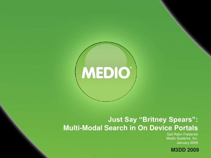 "Just Say ""Britney Spears"": Multi-Modal Search in On Device Portals                              Gail Rahn Frederick       ..."