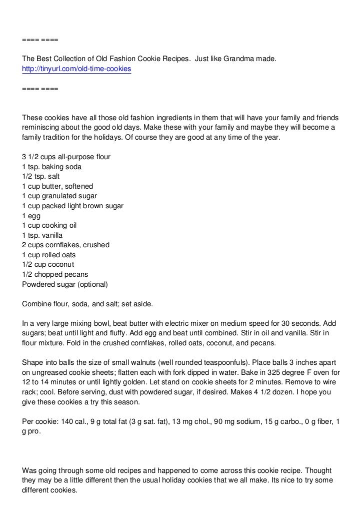 ==== ====The Best Collection of Old Fashion Cookie Recipes. Just like Grandma made.http://tinyurl.com/old-time-cookies====...