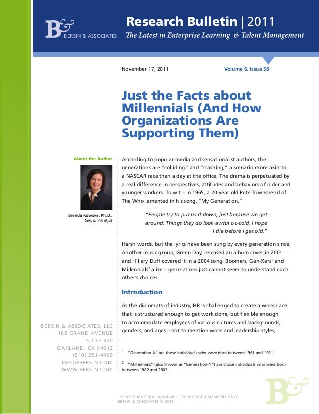 Just the Facts About Millennials