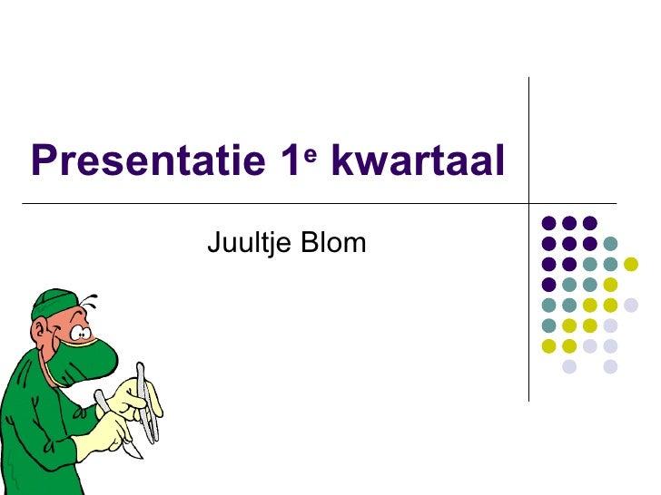 Presentatie 1 e  kwartaal  Juultje Blom