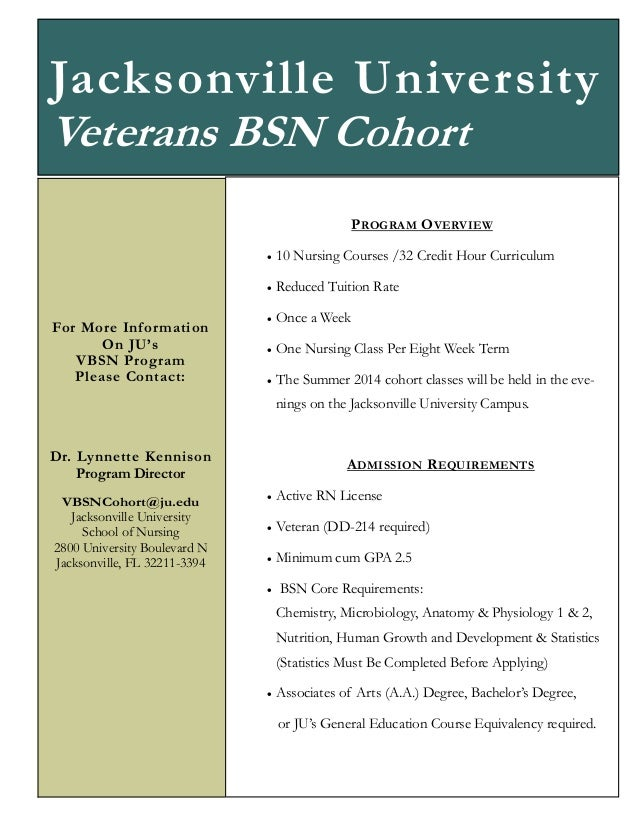 Jacksonville University Veterans BSN Cohort P ROGRAM O VERVIEW    For More Infor mation On JU's VBSN Program Please Cont...