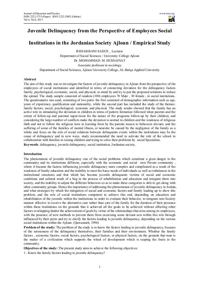 Journal of Education and Practice www.iiste.orgISSN 2222-1735 (Paper) ISSN 2222-288X (Online)Vol.4, No.8, 20131Juvenile De...