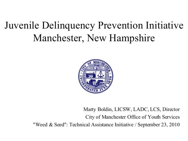 Juvenile Delinquency Prevention Initiative Manchester, New Hampshire Marty Boldin, LICSW, LADC, LCS, Director City of Manc...