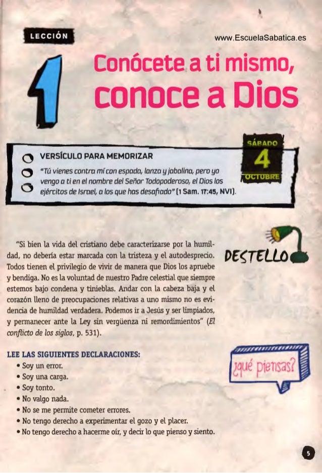 "www. EscueIaSabatica. es Conócete a ti mismo,   conoce a Dios     o venslcuco PARA MEMORIZAR  o ""Tú vienes contro mi con e..."