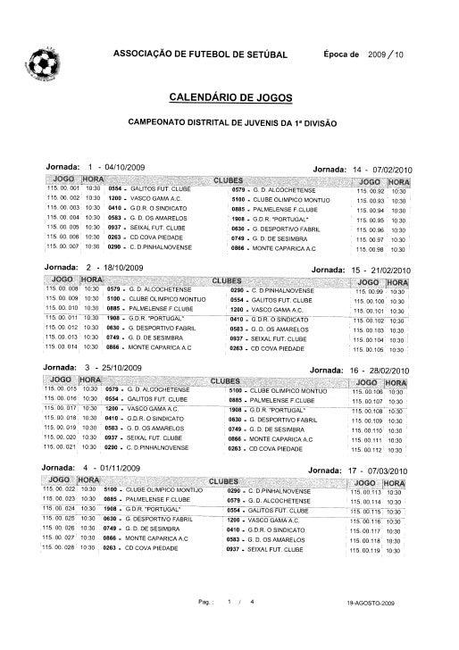 Calendário Juvenis - 1ª Distrital