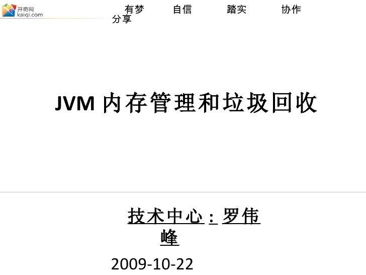 技术中心 :  罗伟峰   2009-10-22  JVM 内存管理和垃圾回收