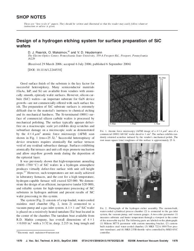 Design of a hydrogen etching system for surface preparation of SiC wafers