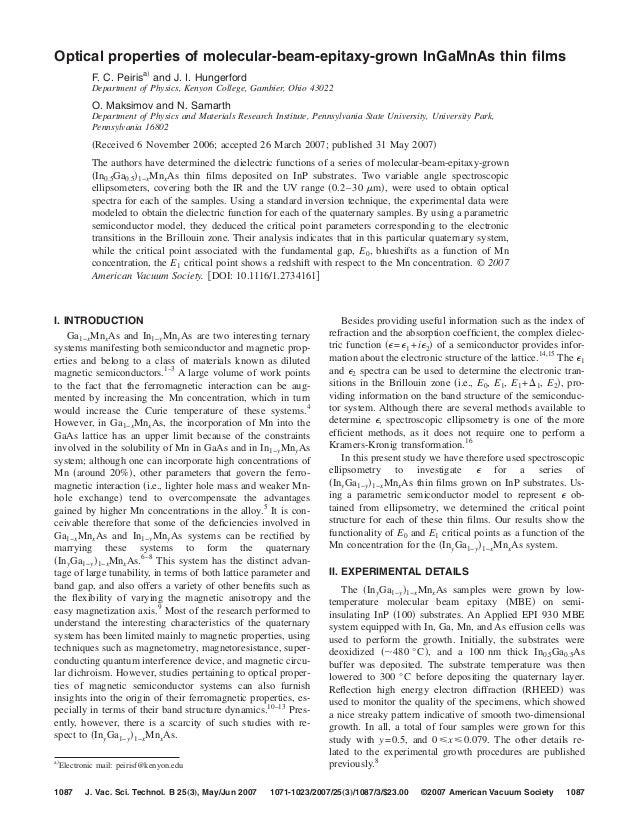 Optical properties of molecular-beam-epitaxy-grown InGaMnAs thin films          F. C. Peirisa͒ and J. I. Hungerford        ...