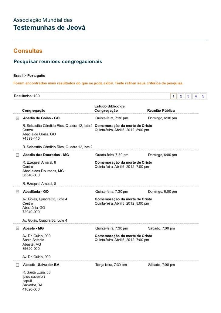 Associação Mundial dasTestemunhas de JeováConsultasPesquisar reuniões congregacionaisBrasil > PortuguêsForam encontrados m...