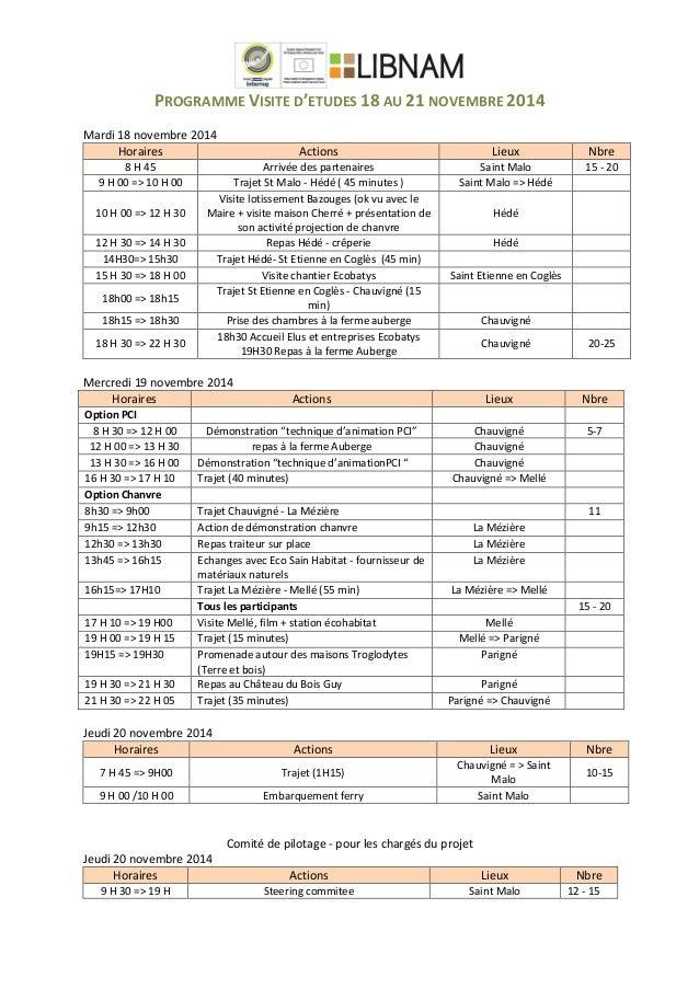 PROGRAMME  VISITE  D'ETUDES  18  AU  21  NOVEMBRE  2014      Mardi  18  novembre  2014   ...