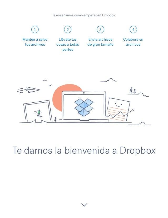 1 2 3 4 Te damos la bienvenida a Dropbox Mantén a salvo tus archivos Llévate tus cosas a todas partes Envía archivos de gr...