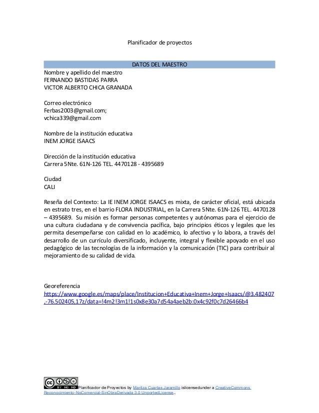 Planificador de proyectos DATOS DEL MAESTRO Nombre y apellido del maestro FERNANDO BASTIDAS PARRA VICTOR ALBERTO CHICA GRA...