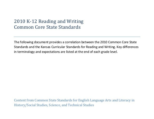 2010 K-12 Reading and WritingCommon Core State StandardsThe following document provides a correlation between the 2010 Com...