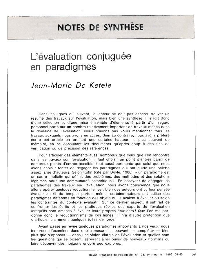 L'evaluation conjuguee en paradigmes Jean-Marie                      Ketele        Dans les lignes qui suivent, le lecteur...