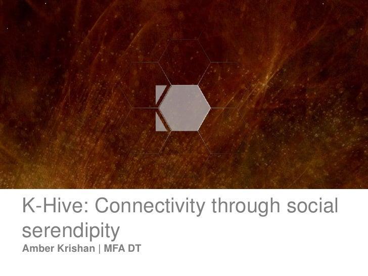 K-Hive: Connectivity through social serendipity Amber Krishan | MFA DT