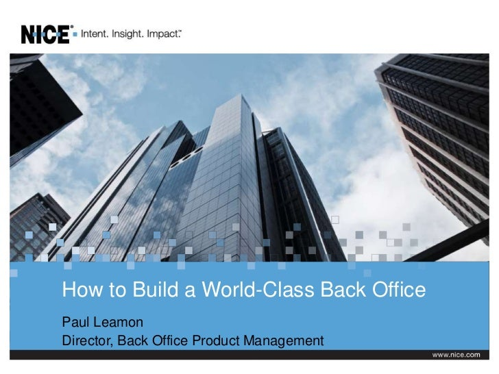 How to Build a World-Class Back Office