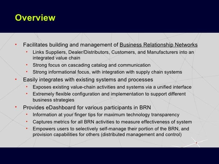 Overview <ul><li>Facilitates building and management of  Business Relationship Networks </li></ul><ul><ul><li>Links Suppli...