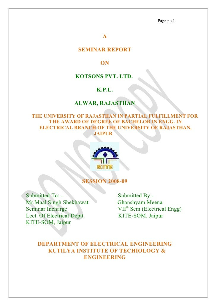 Page no.1                                  A                       SEMINAR REPORT                                ON       ...