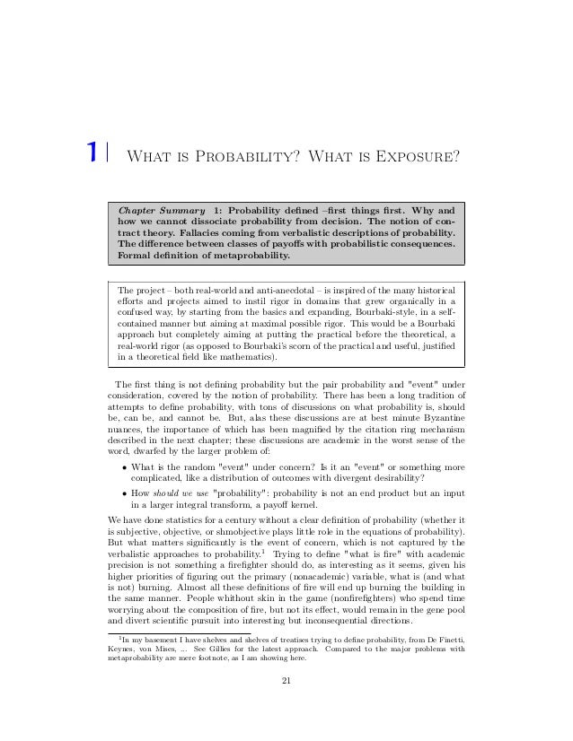1 What is Probability? What is Exposure? Chapter Summary 1: Probability defined –first things first. Why and how we cannot di...