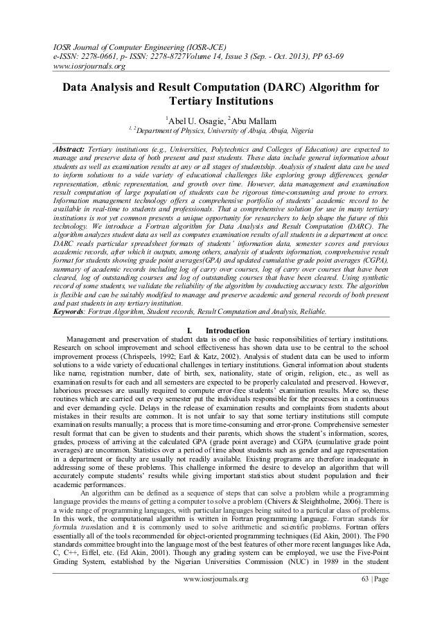 Data Analysis and Result Computation (DARC) Algorithm for Tertiary Institutions