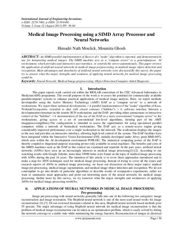 Medical Image Processing using a SIMD Array Processor and Neural Networks