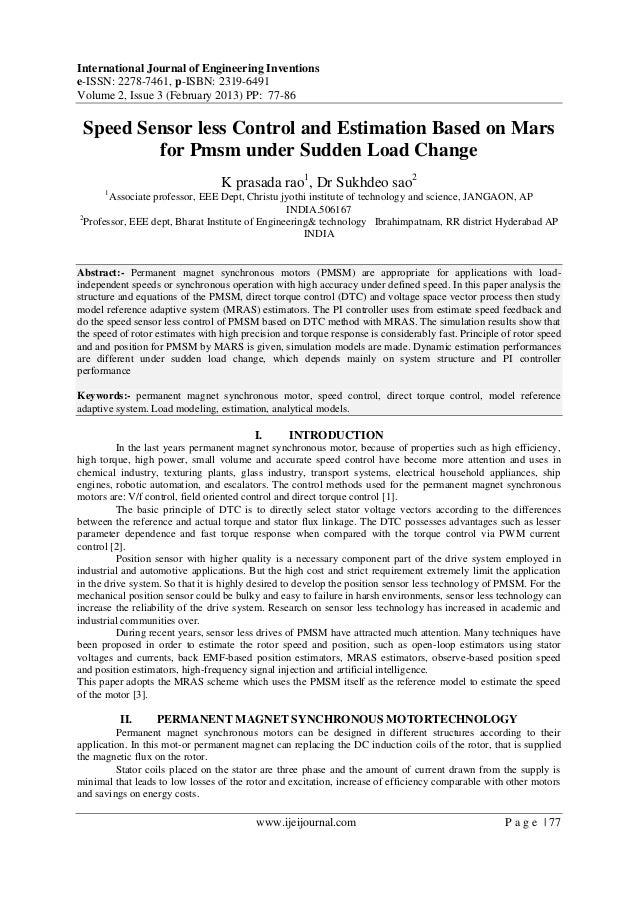 Speed Sensor less Control and Estimation Based on Mars for Pmsm under Sudden Load Change