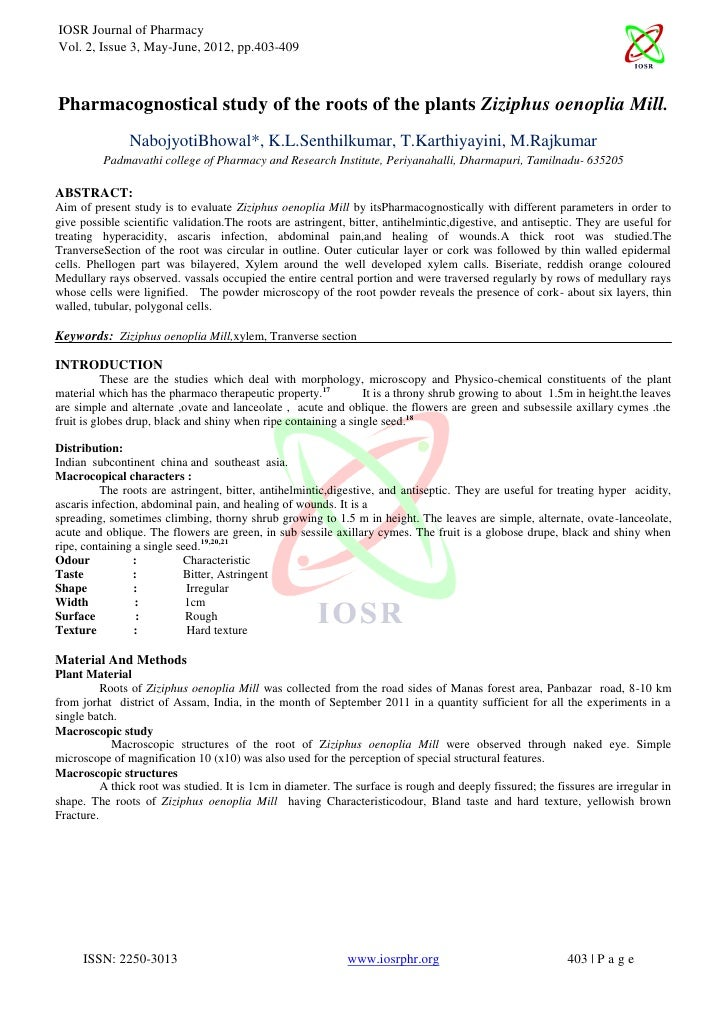 IOSRPHR(www.iosrphr.org) IOSR Journal of Pharmacy