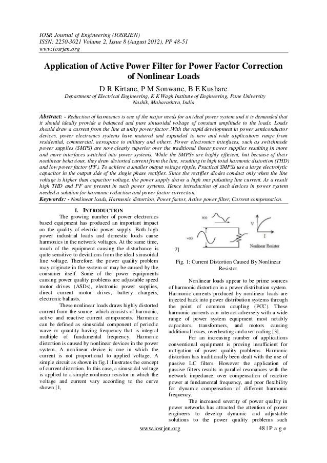 Application of Active Power Filter for Power Factor Correction of Nonlinear Loads