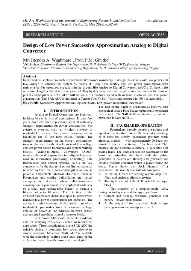 Mr. J A. Waghmare et al Int. Journal of Engineering Research and Applications www.ijera.com ISSN : 2248-9622, Vol. 4, Issu...