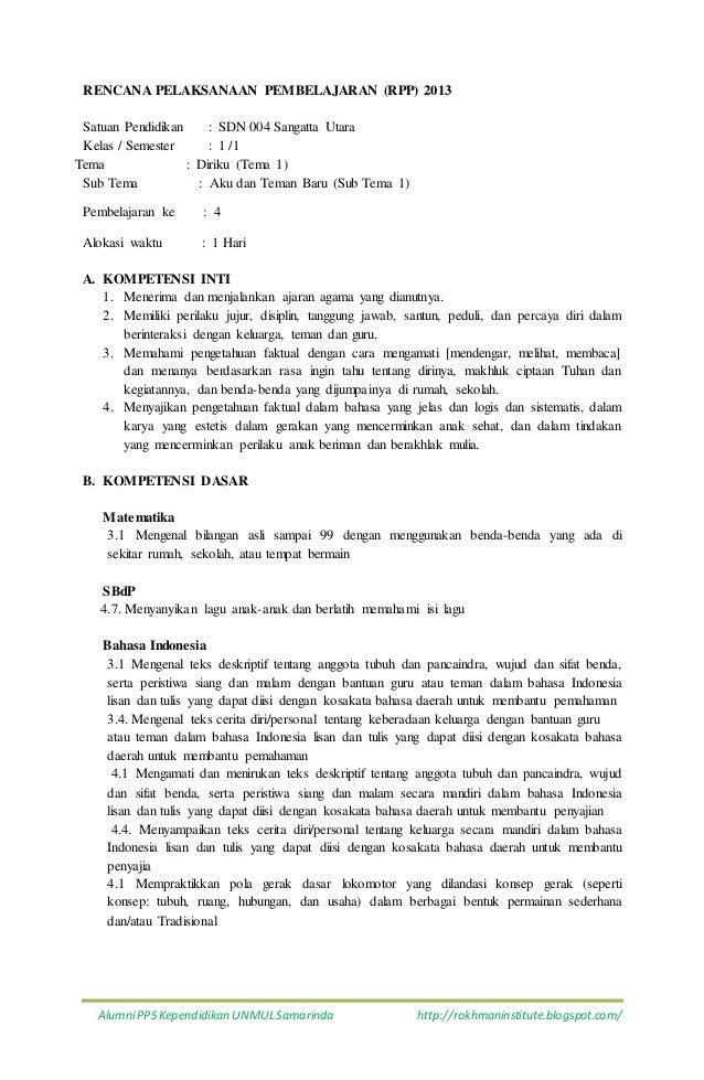 K1 T1 St1 P6 Rpp Tema 1 Kelas 1sub Tema 1 5