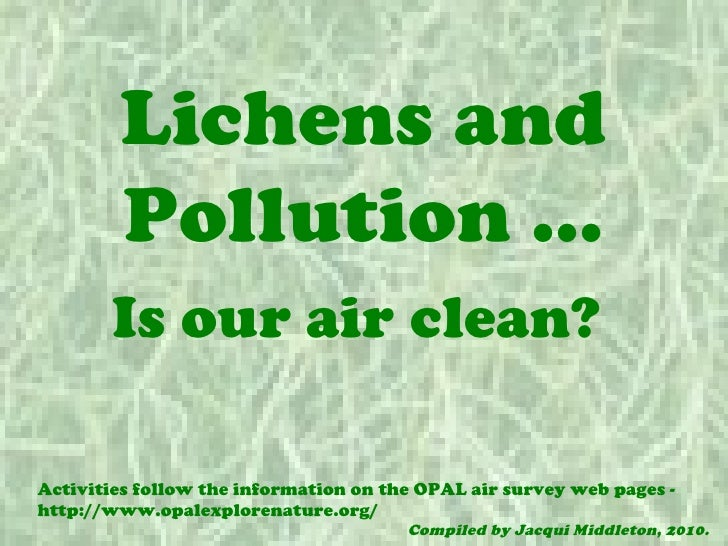 Lichens and        Pollution …       Is our air clean?Activities follow the information on the OPAL air survey web pages -...