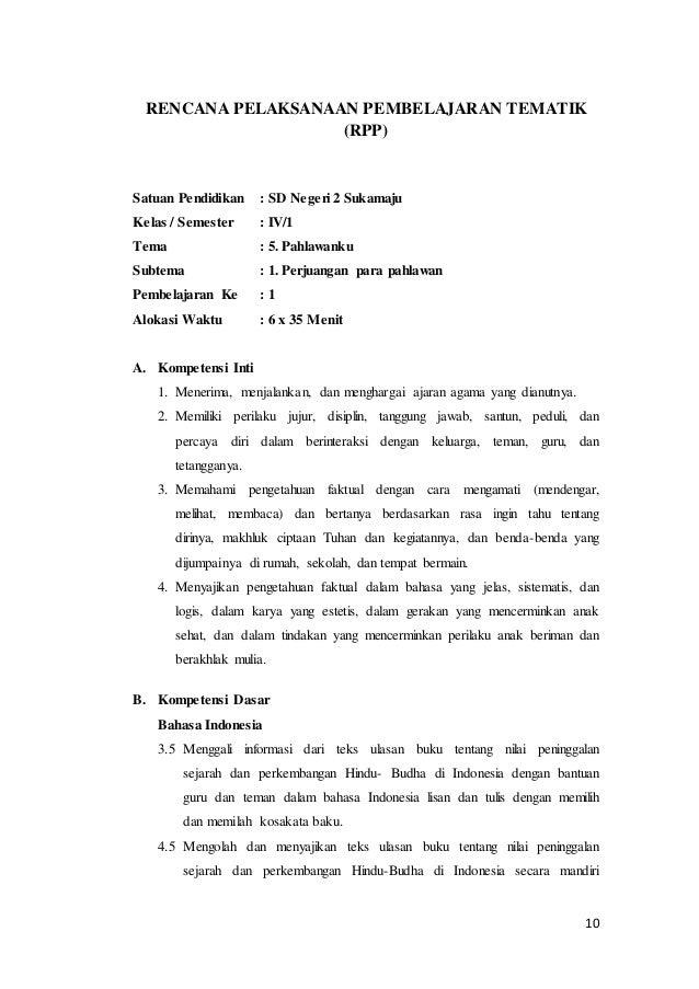 Rpp Tematik Kelas 4
