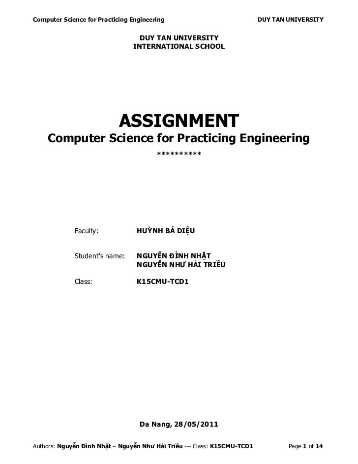 Computer Science for Practicing Engineering                               DUY TAN UNIVERSITY                              ...