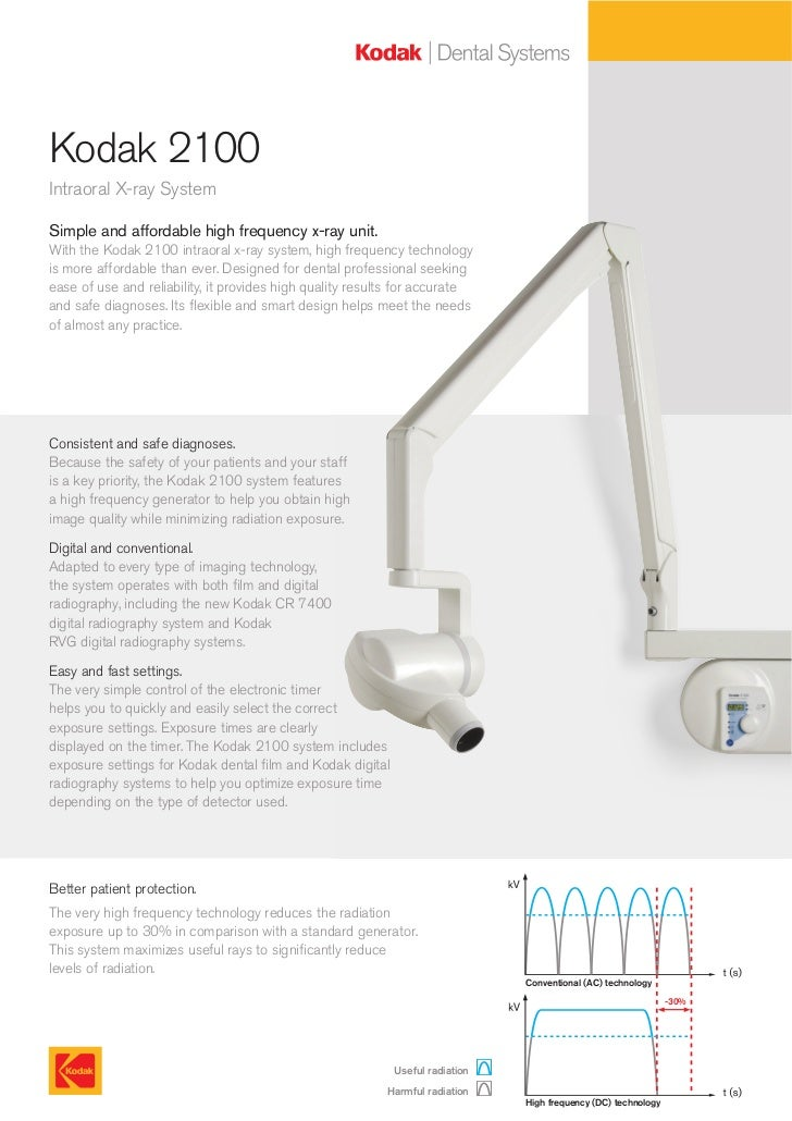 Kodak 2100Intraoral X-ray SystemSimple and affordable high frequency x-ray unit.With the Kodak 2100 intraoral x-ray system...